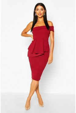 Berry Off The Shoulder Waist Peplum Midi Dress