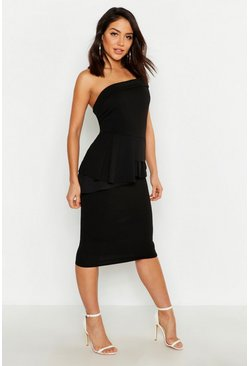 Bardot Waist Peplum Midi Dress, Black, Donna
