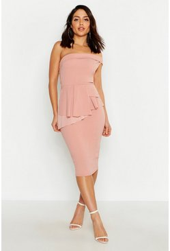 Bardot Waist Peplum Midi Dress, Blush, Donna