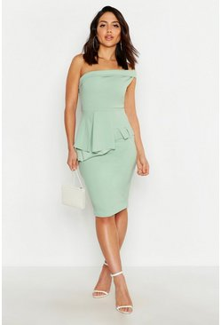 Sage Bardot Waist Peplum Midi Dress