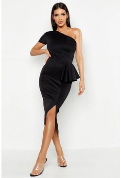 Black One Shoulder Split Midi Dress