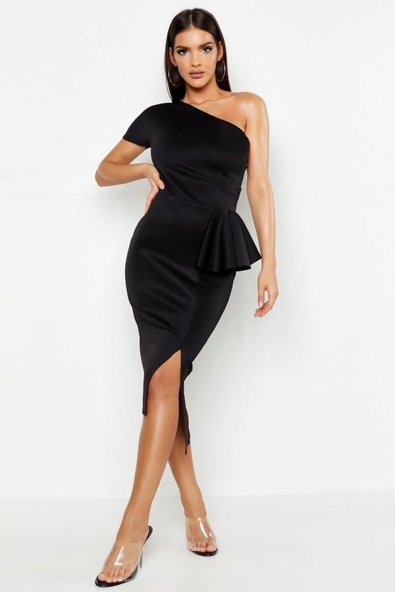 Womens Black One Shoulder Split Midi Dress