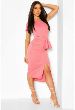 Blush One Shoulder Split Midi Dress
