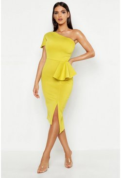 Chartreuse One Shoulder Split Midi Dress