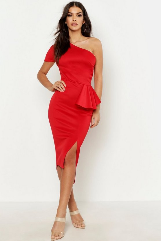 Womens Red One Shoulder Split Midi Dress