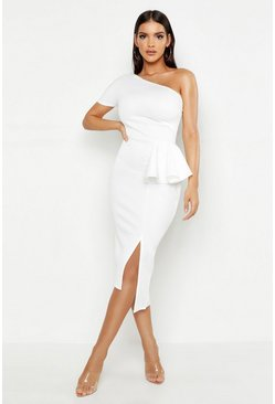 Womens White One Shoulder Split Midi Dress