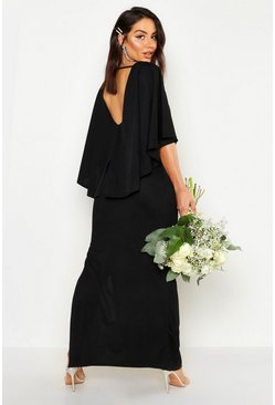 Womens Black Cape Split Back Maxi Dress