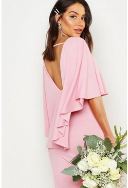 Womens Soft pink Cape Split Back Maxi Dress