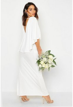Womens White Cape Split Back Maxi Dress