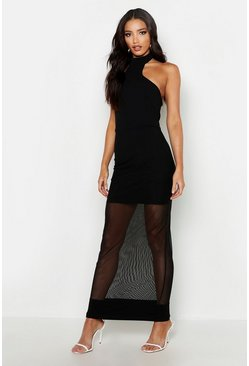 High Neck Mesh Maxi Dress, Black