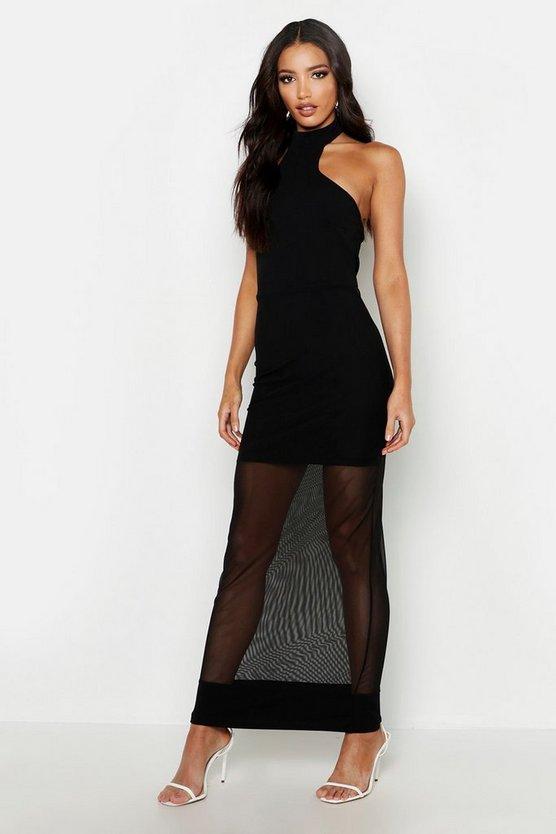 High Neck Mesh Maxi Dress