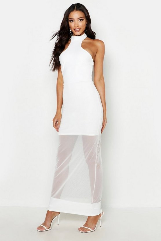 Womens White High Neck Mesh Maxi Dress