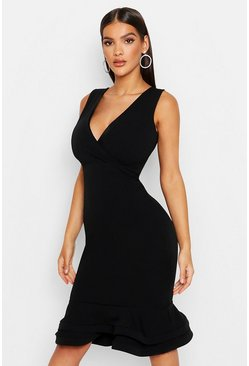 Womens Black Wrap Sleeveless Fishtail Ruffle Midi Dress