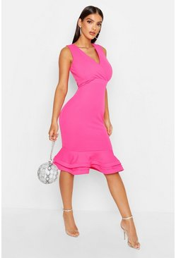 Womens Hot pink Wrap Sleeveless Fishtail Ruffle Midi Dress