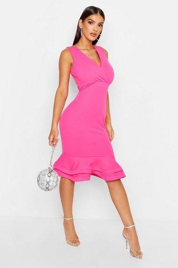 924d685f99 Wrap Sleeveless Fishtail Ruffle Midi Dress