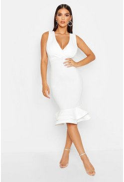 Wrap Sleeveless Fishtail Ruffle Midi Dress, White, Donna