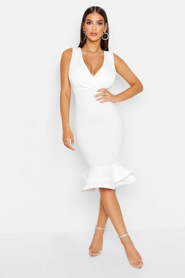 Womens White Wrap Sleeveless Fishtail Ruffle Midi Dress