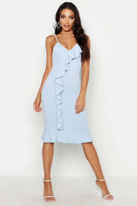 Womens Pastel blue V Neck Ruffle Front Hem Midi Dress