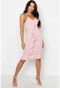 Womens Soft pink V Neck Ruffle Front Hem Midi Dress