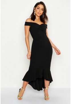 Womens Black Bardot Knot Front Dip Hem Maxi Dress