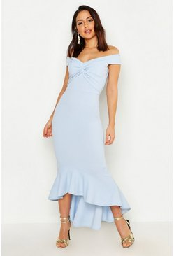 Womens Pastel blue Bardot Knot Front Dip Hem Maxi Dress