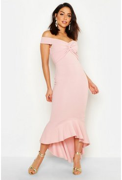 Soft pink Fishtail Dip Hem Maxi Bridesmaid Dress