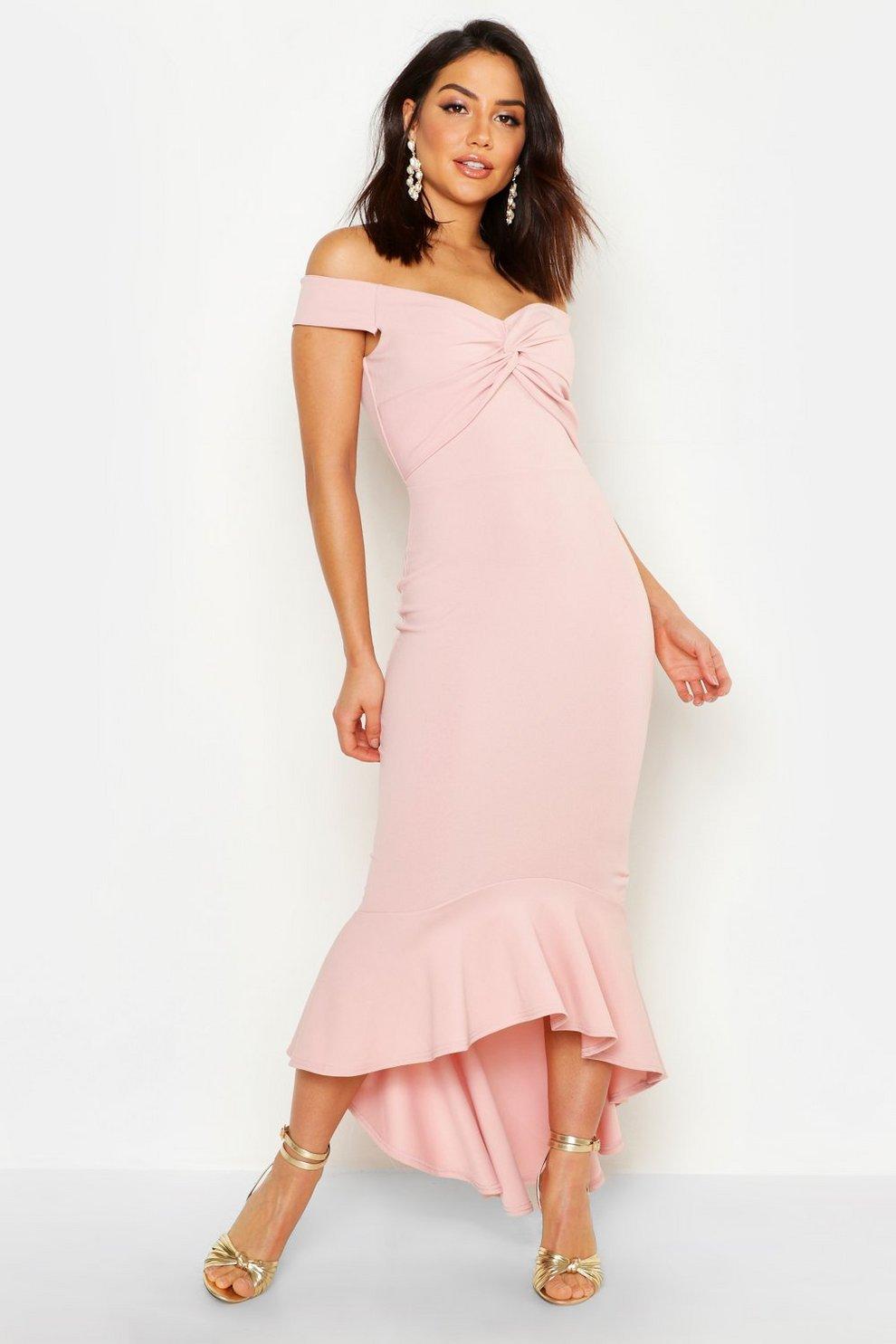 2dccc114dd346 Bardot Knot Front Dip Hem Maxi Dress | Boohoo