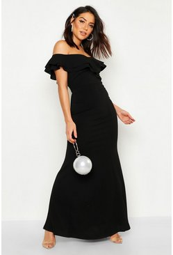Womens Black Bardot Double Ruffle Sweetheart Maxi Dress