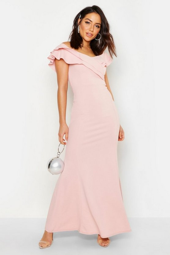 Womens Soft pink Bardot Double Ruffle Sweetheart Maxi Dress