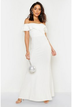 Womens White Bardot Double Ruffle Sweetheart Maxi Dress