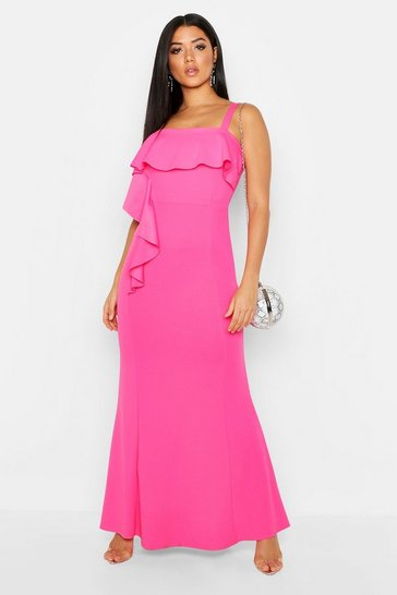Womens Hot pink Square Neck Ruffle Front Maxi Dress