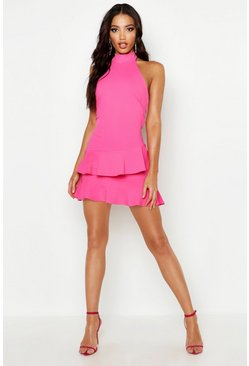 Halterneck Double Ruffle Mini Dress, Hot pink