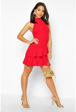 Red Halterneck Double Ruffle Mini Dress