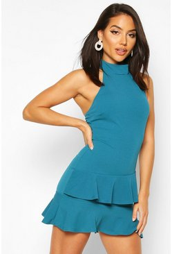 Teal Halterneck Double Ruffle Mini Dress