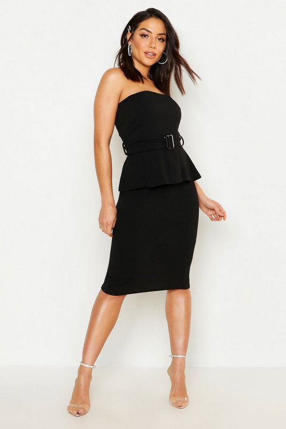 Womens Black Bardot Belted Ruffle Dress