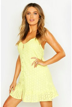 Womens Lime Frill Hem Broderie Anglais Slip Dress
