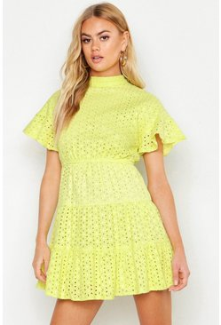 Womens Lime High Neck Tiered Broderie Anglais Smock Dress
