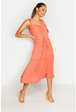 Womens Coral Cheesecloth Tiered Midi Skater Dress