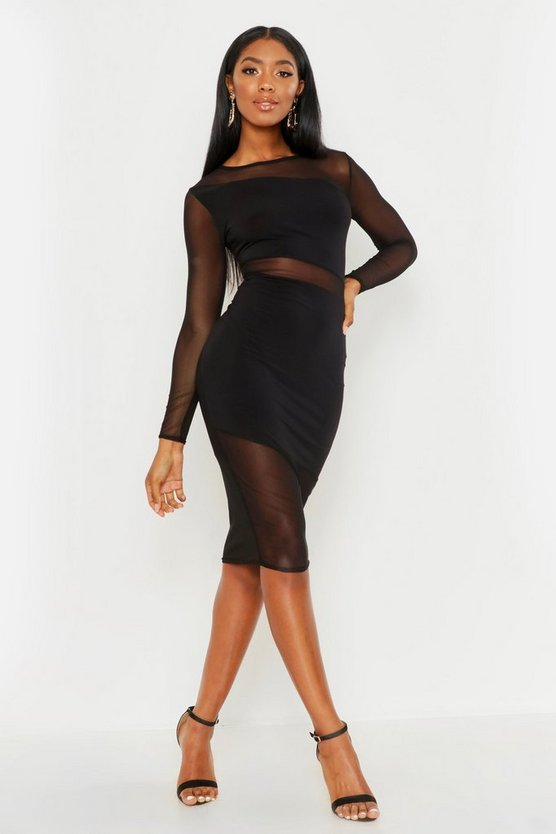 Womens Black Sheer Mesh Detail Bodycon Midi Dress