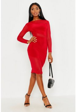 Womens Red Sheer Mesh Detail Bodycon Midi Dress