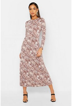 Taupe Neutral Animal Print Asymetric Midi Skater Dress