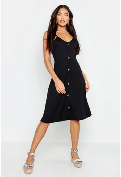 Womens Black Ribbed Button Down Midi Swing Dress