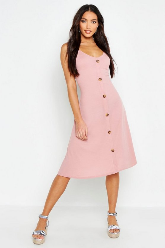 Womens Blush Ribbed Button Down Midi Swing Dress