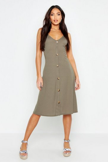 Womens Khaki Ribbed Button Down Midi Swing Dress