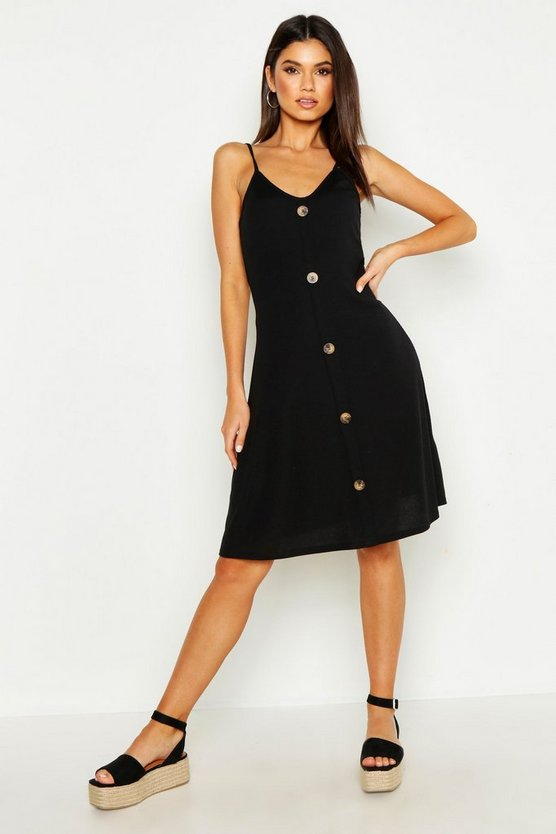 Womens Black Ribbed Button Down Mini Swing Dress