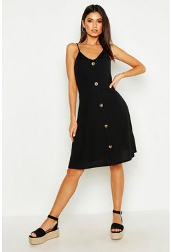 Ribbed Button Down Mini Swing Dress, Black