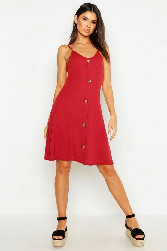 Rust Ribbed Button Down Mini Swing Dress