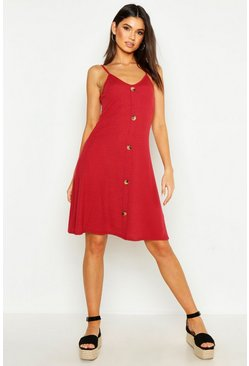 Womens Rust Ribbed Button Down Mini Swing Dress