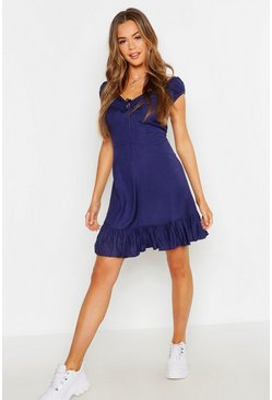 Navy Off The Shoulder Tie Front Ruffle Hem Shift Dress