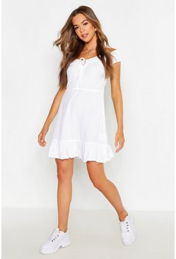 Womens White Off The Shoulder Tie Front Ruffle Hem Shift Dress